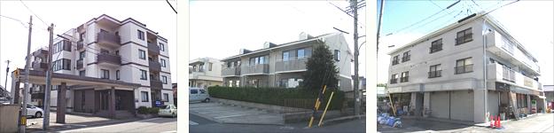 アパートの写真、アパートを塗装してある現場、アパートの足場写真、防水施工の現場